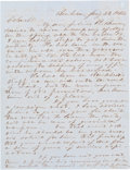 "Autographs:Military Figures, [John S. ""Rip"" Ford]. John Henry Brown Autograph Letter Signed to Texas Ranger Rip Ford. ..."