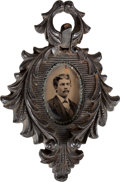 Photography:Cabinet Photos, [Texas Rangers]. Gem-Sized Portrait of Ranger Jesse Lee Hall, circa 1875....