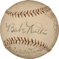 Autographs:Baseballs, 1928 New York Yankees Partial Team Signed Baseball....
