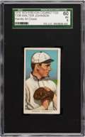 Baseball Cards:Singles (Pre-1930), 1909-11 T206 Sovereign Walter Johnson, Hands at Chest SGC 60 EX5....