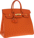 Luxury Accessories:Bags, Hermes 32cm Tangerine Ostrich HAC Birkin Bag with Gold Hardware. ...