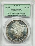 Morgan Dollars: , 1883 $1 MS63 Deep Mirror Prooflike PCGS. PCGS Population (232/336). NGC Census: (94/188). Numismedia Wsl. Price for proble...
