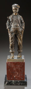 Bronze:European, A BRONZE STATUETTE OF A STANDING BOY ON A MARBLE BASE. 20thcentury. Marks: signed illegibly. 12 inches high (30.5 cm). ...