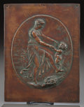 Bronze:European, A PATINATED COPPER RELIEF PANEL, AFTER CLAUDE MICHEL CLODION. (French, 1738-1814), 20th century. Marks: Clodion, 1774. 1...