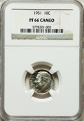 Proof Roosevelt Dimes: , 1951 10C PR66 Cameo NGC. NGC Census: (52/249). PCGS Population(108/123). Numismedia Wsl. Price for problem free NGC/PCGS ...