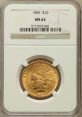 Indian Eagles: , 1909 $10 MS62 NGC. NGC Census: (566/218). PCGS Population(655/339). Mintage: 184,700. Numismedia Wsl. Price for problemfr...