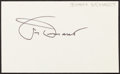 Baseball Collectibles:Others, Jimmy Demaret Signed Index Card....