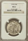 Walking Liberty Half Dollars: , 1918-S 50C MS61 NGC. NGC Census: (41/505). PCGS Population(10/740). Mintage: 10,282,000. Numismedia Wsl. Price for problem...