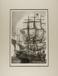 Art:Illustration Art - Mainstream, [Etching]. Alan Jay Gaines. SIGNED/DATED. The Whaling Ship.1976. Matted. 20 x 25.75 including mat. Light wear to ed...
