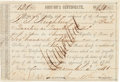 Autographs:Military Figures, [Texas Rangers]. Republic of Texas Auditor's Certificate....