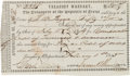 Miscellaneous:Ephemera, Republic of Texas Treasury Warrant Signed....
