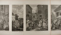 Art:Illustration Art - Mainstream, William Hogarth. Group of Four: Morning, Noon, Evening,Night. Nd. 18.75 x 24.75 inches. Mild toning to edges. Minor...
