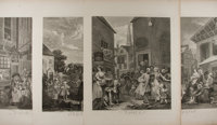 William Hogarth. Group of Four: Morning, Noon, Evening, Night. Nd. 18.75 x 24.75 inches. Mild t