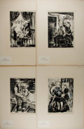 Art:Illustration Art - Mainstream, Leonard Weisgard. Group of Four Original Prints with Hand Painting.Nd. 15 x 20 inches, including mat. From Heidi by Jo...