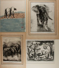 Art:Illustration Art - Mainstream, [Original Art]. Group of Four Animal Prints. Various artists.Largest measures 19.5 x 18 inches. Two original SIGNED/LIMITED...