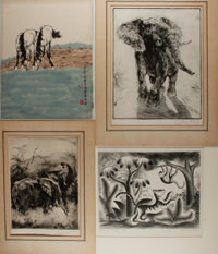[Original Art]. Group of Four Animal Prints. Various artists. Largest measures 19.5 x 18 inches. Two original SIGNED/