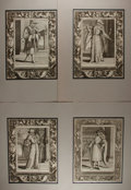 Art:Illustration Art - Mainstream, [Engravings]. Group of Four Original Heraldic Engravings. Nd.Measures 16 x 21 inches including mat. Tipped in and matted. L...