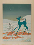 Art:Illustration Art - Mainstream, [Print]. Woody W. Crumbo. Leaping Blue Doe. Silkscreen. 21 x15 inches. Margins lightly toned. Tape residue to top e...
