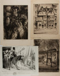 Art:Illustration Art - Mainstream, [Etchings]. Group of Four Original Etchings. Various artists. N.d.Moderate toning. Some creasing and small, closed tears. A...