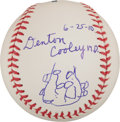 Baseball Collectibles:Balls, Denton A. Cooley Single Signed Baseball With Heart Drawing! (Surgeon Responsible For First Heart Transplant) ...