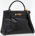 Luxury Accessories:Bags, . Hermes 28cm Black Calf Box Leather Bonwit Teller Kelly Bag withGold Hardware . ...