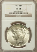 Peace Dollars: , 1923 $1 MS64 NGC. NGC Census: (133437/37585). PCGS Population(75772/16916). Mintage: 30,800,000. Numismedia Wsl. Price for...