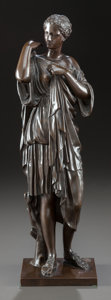 Bronze:European, A FRENCH BRONZE STATUE OF A CLASSICALLY DRAPED WOMAN . Early 20thcentury. Marks: Reduction Mecanique A Collas Brevete. ...