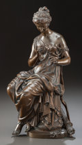 Bronze:European, A PATINATED BRONZE STATUE OF A DRAPED SEATED WOMAN, AFTER MATHURINMOREAU . (French, 1822-1912), 20th century. Marks: More...