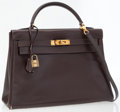 Luxury Accessories:Bags, Hermes 32cm Marron Fonce Calf Box Leather Kelly Bag with GoldHardware. ...