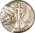 Errors, 1945-S 50C Walking Liberty Half Dollar -- Double Struck, SecondStrike 55% Off Center -- MS63 PCGS....