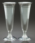 Silver Holloware, American:Vases, A PAIR OF TIFFANY & CO. SILVER BANDED TRUMPET VASES. Circa1907-08. Marks: TIFFANY & CO., STERLING SILVER, 925-1000,17040... (Total: 2 Items)