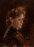 19th Century European, BRITISH SCHOOL (19th Century). Portrait of a Woman. Oil onacademy board. 15-1/2 x 18-3/4 inches (39.4 x 47.6 cm). Inscr...