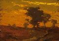 American:Regional, AMERICAN SCHOOL (20th Century). Tonalist Landscape. Oil onpanel. 6-1/2 x 9-1/4 inches (16.5 x 23.5 cm). THE JEAN AND ...