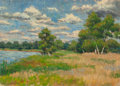 American:Regional, AMERICAN SCHOOL (20th Century). By Water's Edge. Oil onpanel. 10 x 14 inches (25.4 x 35.6 cm). THE JEAN AND GRAHAM DE...