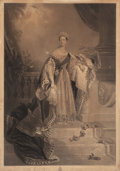 Fine Art - Work on Paper:Print, After ALFRED EDWARD CHALON (Swiss/British, 1780-1860). Her Majesty Queen Victoria . Engraving laid on canvas. 30 x 21 in...