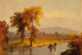 American:Hudson River School, BENJAMIN CHAMPNEY (American, 1817-1907). Autumn Afternoon on theRiver. Oil on canvas laid on panel. 4 x 5-1/2 inches (1...