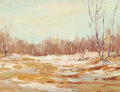 American:Regional, CALEB ARNOLD SLADE (American, 1882-1961). Winter Landscape.Oil on board. 5 x 7 inches (12.7 x 17.8 cm). Artist's estate...