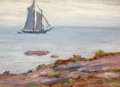 American:Still Life, FREDERIK USHER DEVOLL (American, 1873-1941). Seascape withShip. Oil on board. 6 x 8-1/2 inches (15.2 x 21.6 cm).Artist...