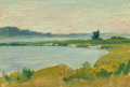 American:Regional, AMERICAN SCHOOL (Early 20th Century). Landscape with River.Oil on board. 4-1/2 x 6-1/2 inches (11.4 x 16.5 cm). THE J...