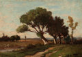 American:Academic, RICHARD HENRY FULLER (American, 1822-1871). Landscape withPollarded Trees, 1859. Oil on panel . 7 x 10 inches (17.8 x2...