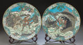 Asian:Japanese, TWO JAPANESE CLOISONNÉ ENAMEL FOOTED PLATES AND STANDS. Late 19thcentury. 12 inches diameter (30.5 cm). ... (Total: 2 Items)