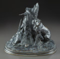 Bronze:European, A PATINATED BRONZE FIGURAL GROUP OF A HUNTING DOG AND PREY, AFTERP.J. MENE. (French, 1810-1877), 20th century. Marks: P.J...