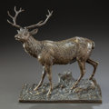 Bronze:American, A BRONZE FIGURE OF A STANDING STAG. 20th century. Marks: Rud.Winder 77. 10-1/4 x 9-3/4 x 6-1/4 inches (26.0 x 24.8 x 15...