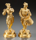 Paintings, TWO GILT BRONZE FIGURINES OF MUSICIANS . 20th century. Marks: E. Guillemin, L M, (indecipherable mark). 9 inches high (2... (Total: 2 Items)