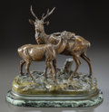Sculpture, A PATINATED BRONZE FIGURAL GROUP OF TWO DEER ON A MARBLE BASE, AFTER ALFRED DUBUCAND. (French, 1828-1894), 20th century. Mar...