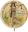 "Miscellaneous:Ephemera, Celluloid Pin Back: ""Official Souvenir of Texas State Fair,""circa 1898...."