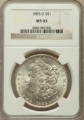 Morgan Dollars: , 1883-O $1 MS63 NGC. NGC Census: (44710/54362). PCGS Population(43342/43742). Mintage: 8,725,000. Numismedia Wsl. Price for...