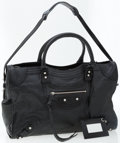 Luxury Accessories:Bags, Balenciaga Black Leather Giant Brogues Covered Work Bag . ...