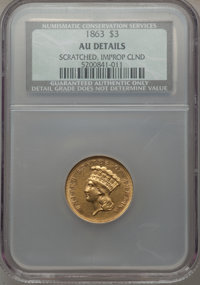 1863 $3 -- Scratched, Improperly Cleaned -- NCS. AU Details....(PCGS# 7984)