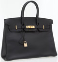 Luxury Accessories:Bags, Hermes 35cm Black Clemence Leather Birkin Bag with Gold Hardware....